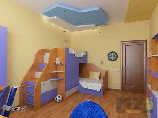 Двухэтажная кровать в детскую комнату из МДФ с выдвижными ящиками