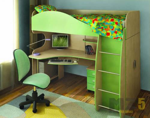Ярко-салатовая кровать-чердак в детскую с рабочей зоной