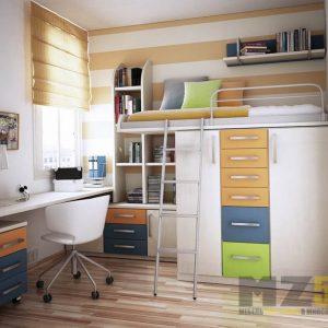 Кровать-чердак в детскую со встроенным распашным шкафом и выдвижными ящиками