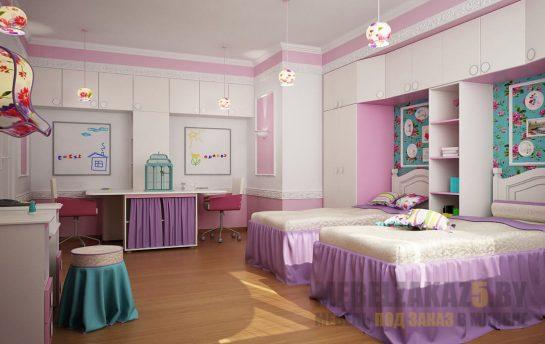 Набор ультрасовременной мебели в комнату для двух девочек