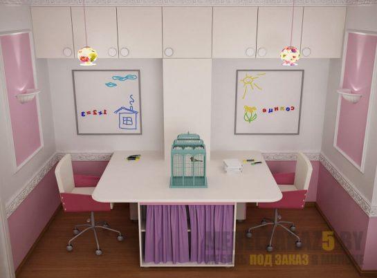 Набор мебели в детскую комнату для двух девочек в современном стиле