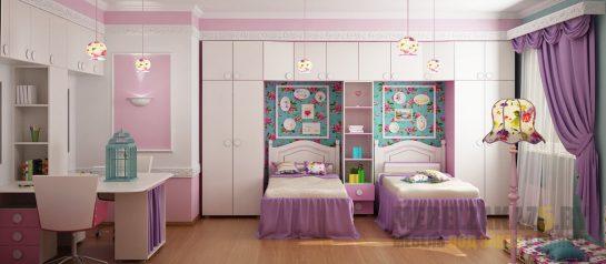 Набор ультрасовременной мебели в комнату для двух девочек зонированный шкафом-пеналом