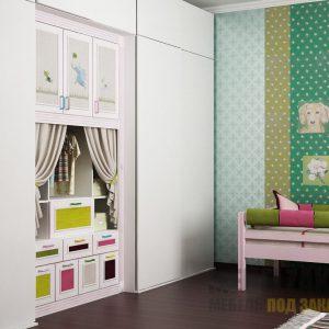 Современная встроенная стенка без ручек с выдвижными ящиками в детскую комнату