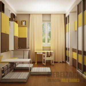 Функциональный набор мебели коричнево-желтого цвета в детскую комнату