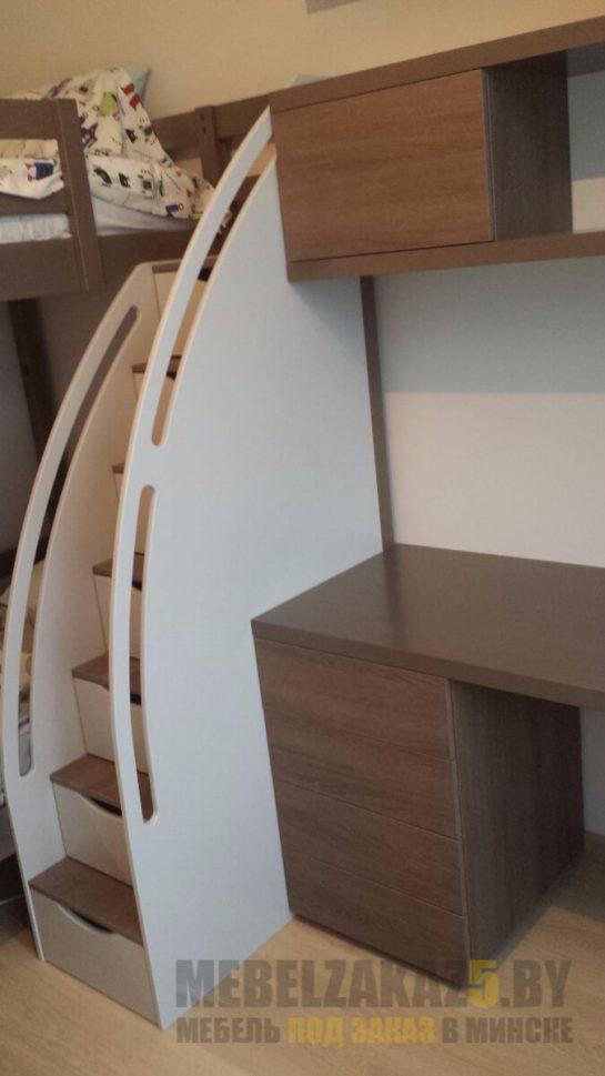 Кровать-чердак с приставным компьютерным столом в детскую