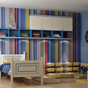 Шкаф-пенал с навесными шкафчиками и распашным шкафом в бело-синем цвете для детской комнаты