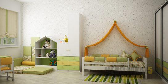 Набор светлой корпусной мебели в комнату для ребенка от трех лет