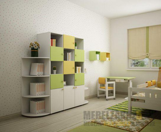 Книжный стеллаж салатово-желтого цвета в комнату ребенка трех лет