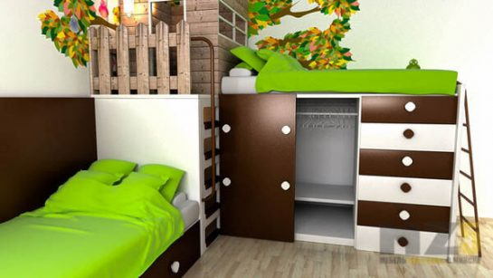 Яркая детская комната с домиком на чердаке