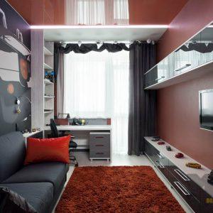 Глянцевый набор мебели в комнату для подростка