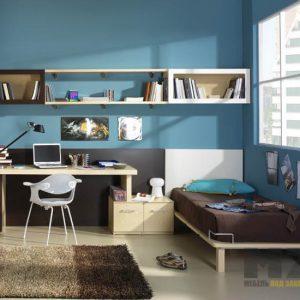 Комплект мебели в детскую комнату темно коричневого цвета с бежевой рабочей зоной
