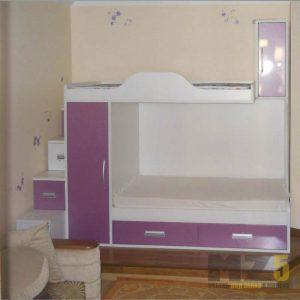 Двухэтажная кровать в детскую с выдвижными шкафчиками в ступеньках