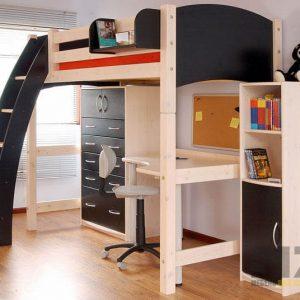 Стильная кровать-чердак в детскую комнату с тумбой и компьютерным столом