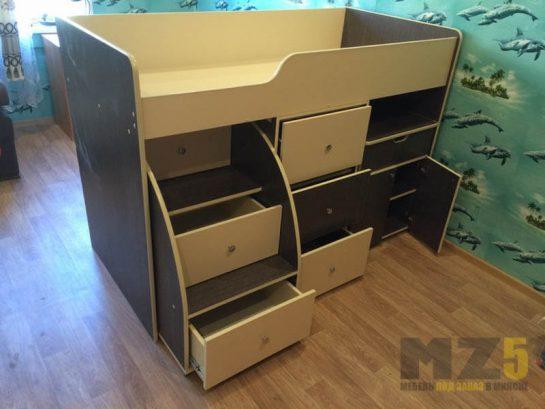 Детская кровать-чердак из МДФ с ящиками для хранения