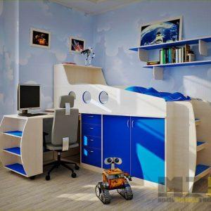 Бежево-синяя кровать-чердак с компьютерным столом и встроенным шкафчиком