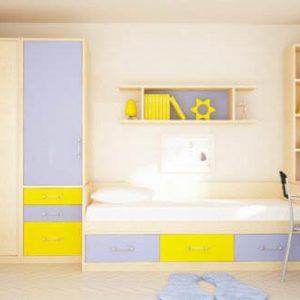 Кровать со шкафом и полками в детскую