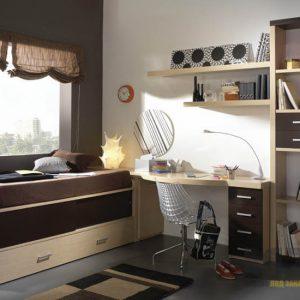 Комплект мебели в детскую комнату в коричневых тонах