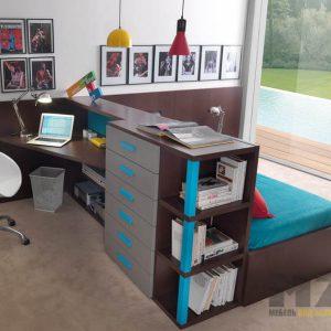 Рабочая зона с выдвижными ящиками и кроватью в комнату подростка