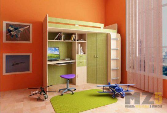 Кровать-чердак в детскую нежно-зеленого цвета с рабочей зоной