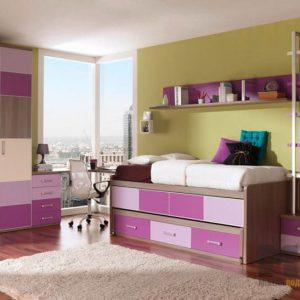 Корпусная мебель в детскую в сиренево-фиолетовом цвете