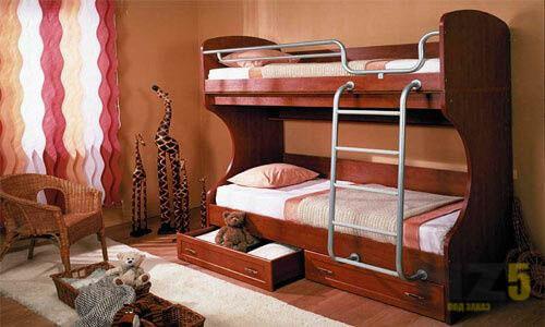 Классическая двухъярусная кровать из массива в детскую