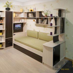Стенка в детскую комнату с односпальной кроватью