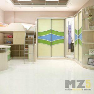 Угловая стенка с распашным шкафом и шкафом-купе