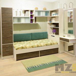 Шпонированный шкаф-пенал с кроватью и навесными шкафчиками в детскую
