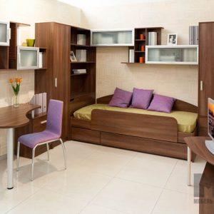 Кровать с распашным шкафом и стеллажом в комнату подростка