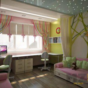 Комплект мебели в детскую для девочки из МДФ в нежных тонах