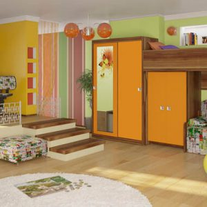 Набор мебели из массива в детскую с кроватью-чердаком, рабочей зоной и распашным шкафом