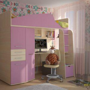 Сиреневая кровать-чердак со встроенным шкафом и рабочей зоной