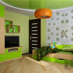 Бежево-салатовая мебель в детскую комнату