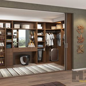 Встроенная гардеробная система из массива