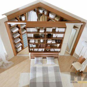 Встроенная угловая гардеробная из МДФ с открытым шкафом снаружи