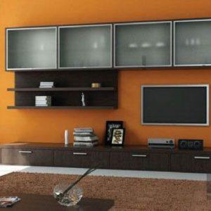 Стенка в гостиную из МДФ коричневого цвета с открытыми полками