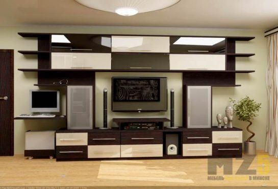 Современная комбинированная матово-глянцевая горка для гостиной