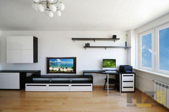 Современная минималистичная горка в гостиную черно-белого цвета