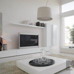 Белая глянцевая стенка в гостиную в современном стиле