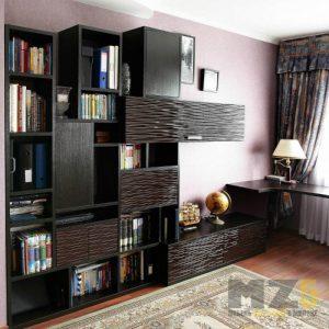 Современная комбинированная горка в гостиную с черными 3д фасадами