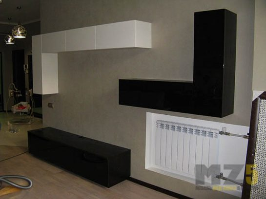Горка в гостиную в стиле минимализм со шкафчиками закрытого типа