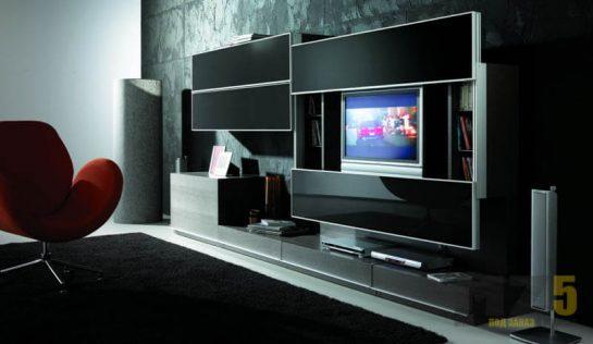 Горка в гостиную в стиле минимализм с раздвижным шкафчиком для ТВ