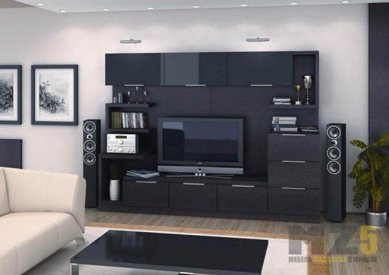 Горка в гостиную в стиле модерн черного цвета