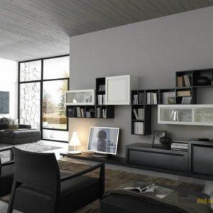 Современная матовая горка для гостиной бело-серого цвета