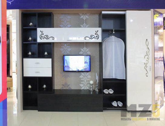 Современная матово-глянцевая горка в гостиную со шкафом для одежды