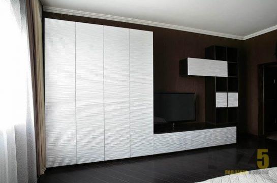 Горка для гостиной в стиле минимализм черно-белого цвета с 3Д фасадами