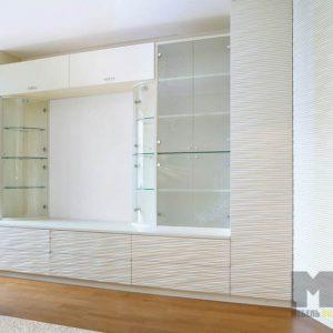 Белая горка в гостиную с 3Д фасадами