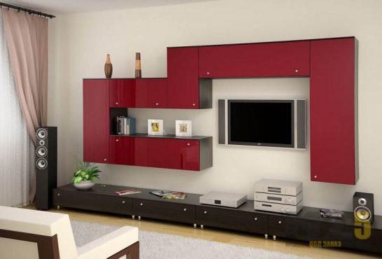 Ультрасовременная матовая горка в гостиную с красными навесными шкафчиками