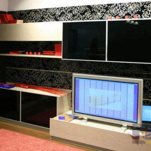 Современная горка в гостиную черно-белого цвета из МДФ