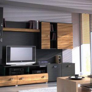 Ультрасовременная матовая горка в гостиную черно-коричневого цвета